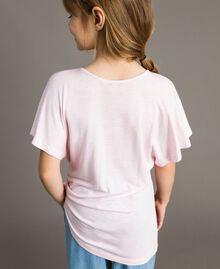 "Gestreiftes Maxi-T-Shirt aus Jerseystoff mit Strass ""Crystal Pink"" Melange Kind 191GJ2721-04"