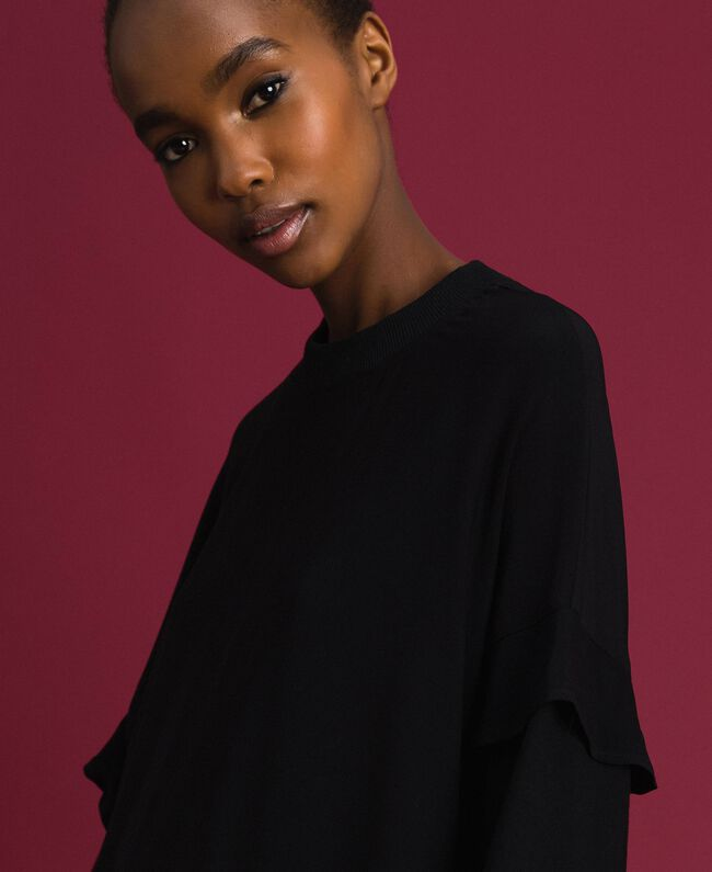 Georgette blouse with drawstring Black Woman 192TP2381-04