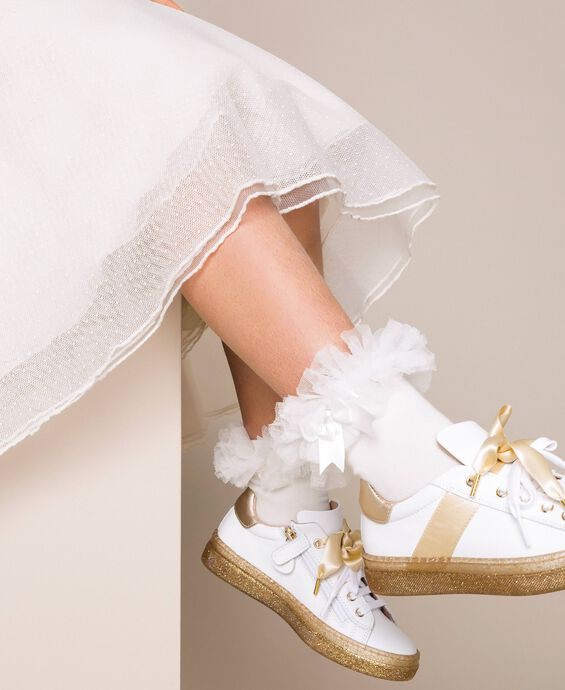 Socks with tulle ruffle