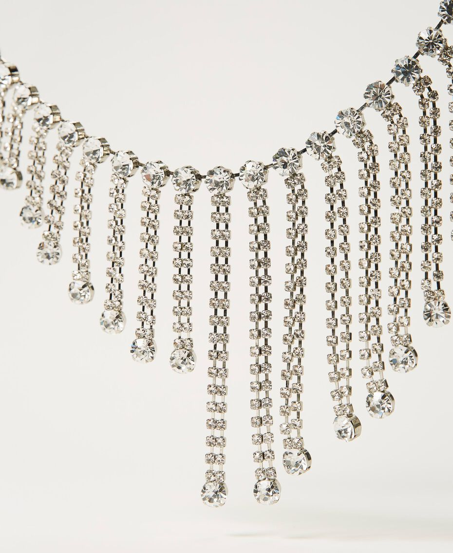 Necklace with rhinestone fringes Crystal Woman 211TO5014-02