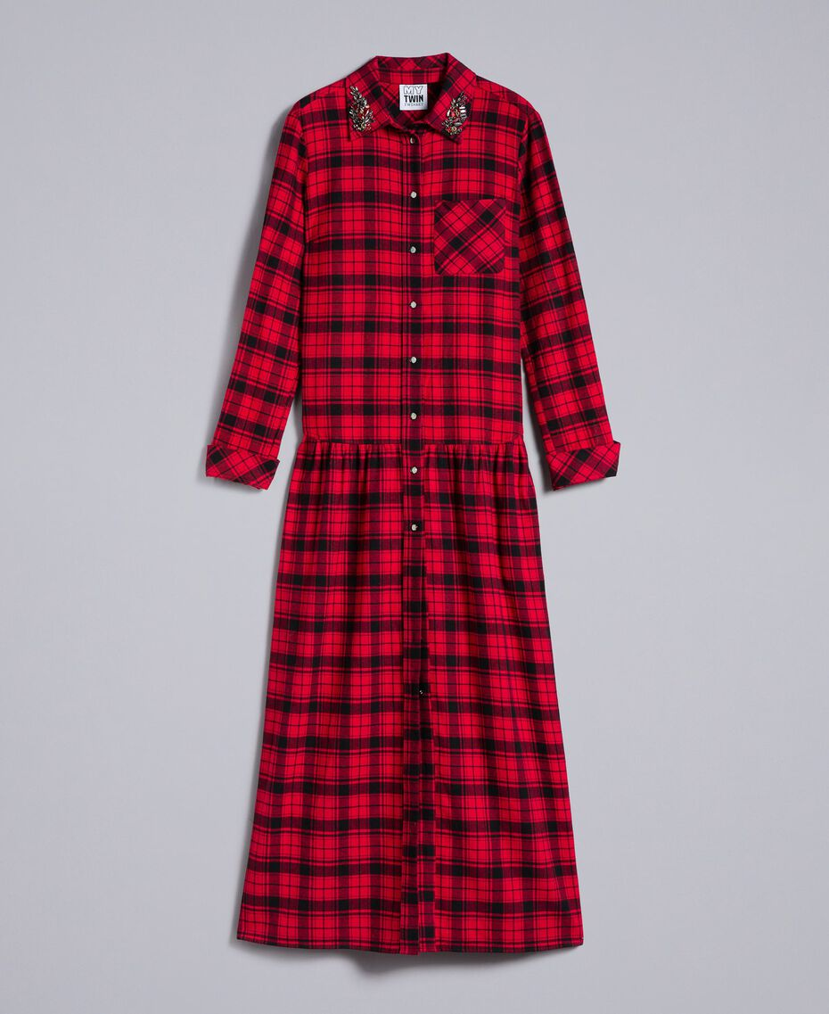 "Long check flannel dress Bicolour ""Poppy"" Red / Black Plaid Flannel Woman YA82EB-0S"