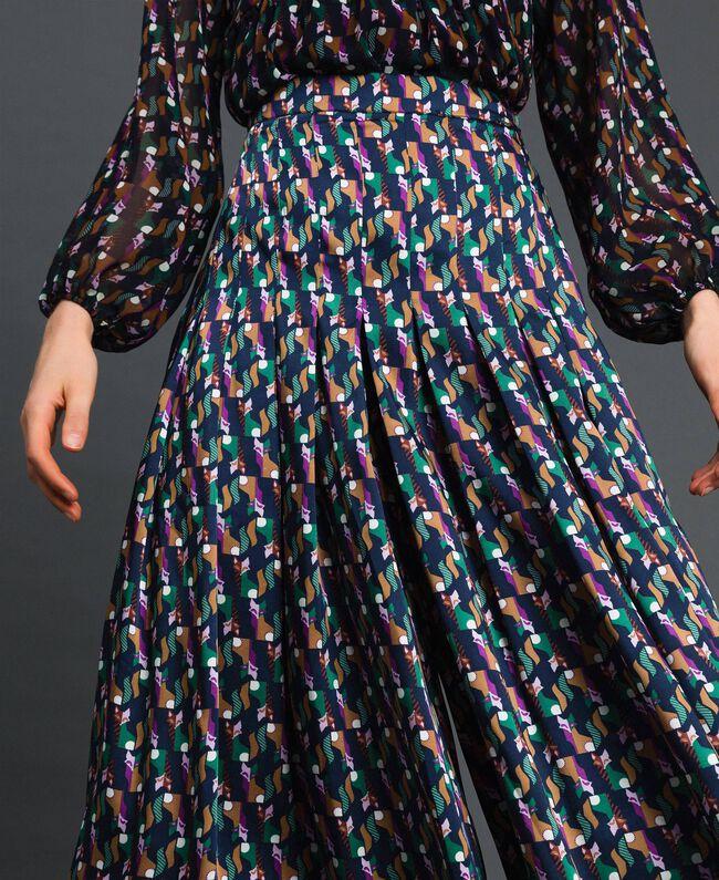 Trouser-skirt with print and pleats Fox Geometric Print Woman 192ST2142-04