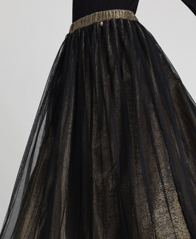 Metal effect midi skirt with tulle Black Gold Woman 192MT2190-04