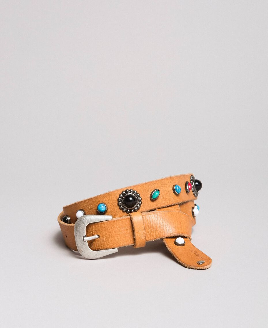 Studded leather belt Leather Brown Woman 191TO5335-02
