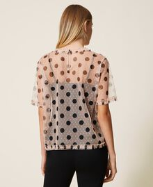 Plumetis tulle blouse with polka dots Nude Beige Polka Dot Print Woman 202ST2062-03