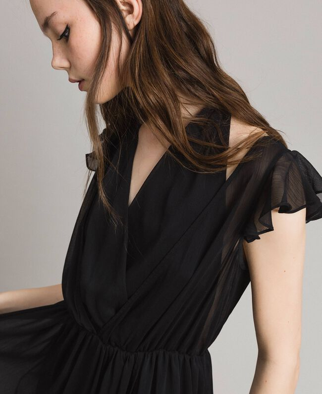 Robe longue en crépon Noir Femme 191LB21HH-04