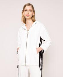 Maxi sweatshirt with jacquard logo Ivory Woman 201TP2070-03