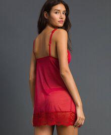 Nuisette en dentelle et tulle plumetis Rouge Ardent Femme 192LL6CZZ-03