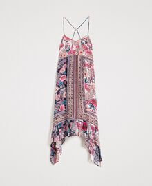 "Chiffon dress with shawl print ""Psychedelic Pink"" Fuchsia Scarf Print Woman 191LB2HEE-0S"