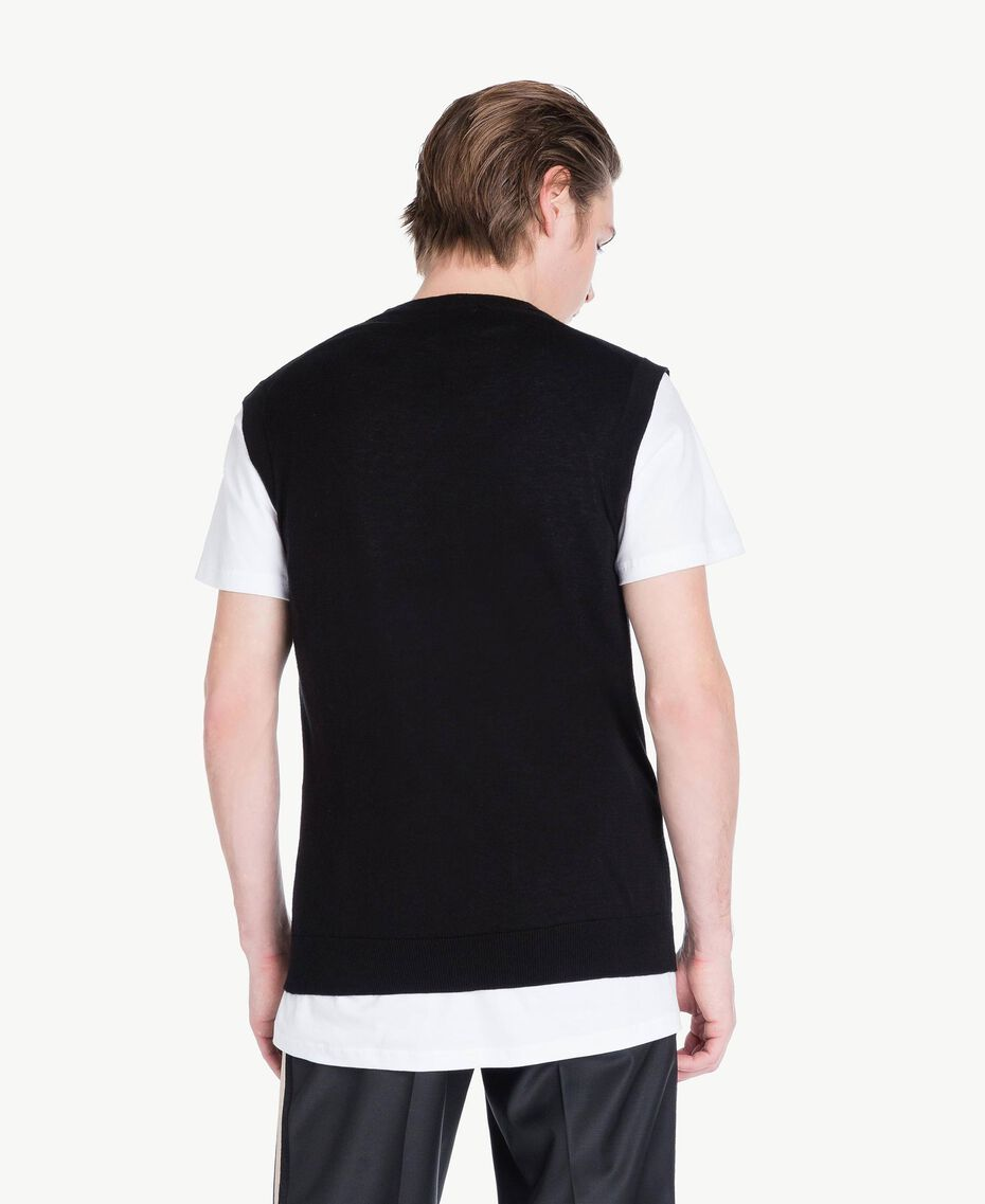 Cotton and cashmere waistcoat Black Man US831D-03