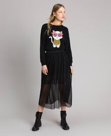 Tulle mid-length skirt Black Woman 191MP2130-0T