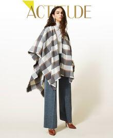 Poncho en drap jacquard à carreaux Carreaux Gris Chiné / Blanc «Lait» Femme 212AA4062-01