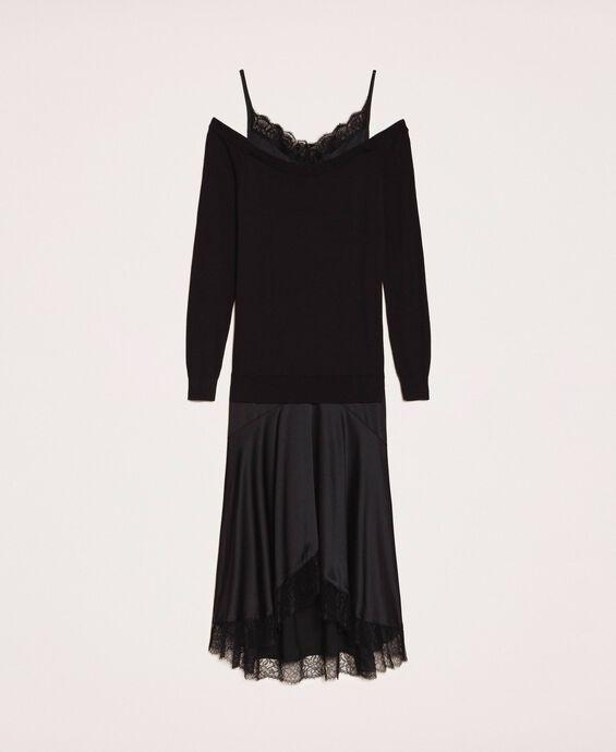 Knit dress with slip effect satin