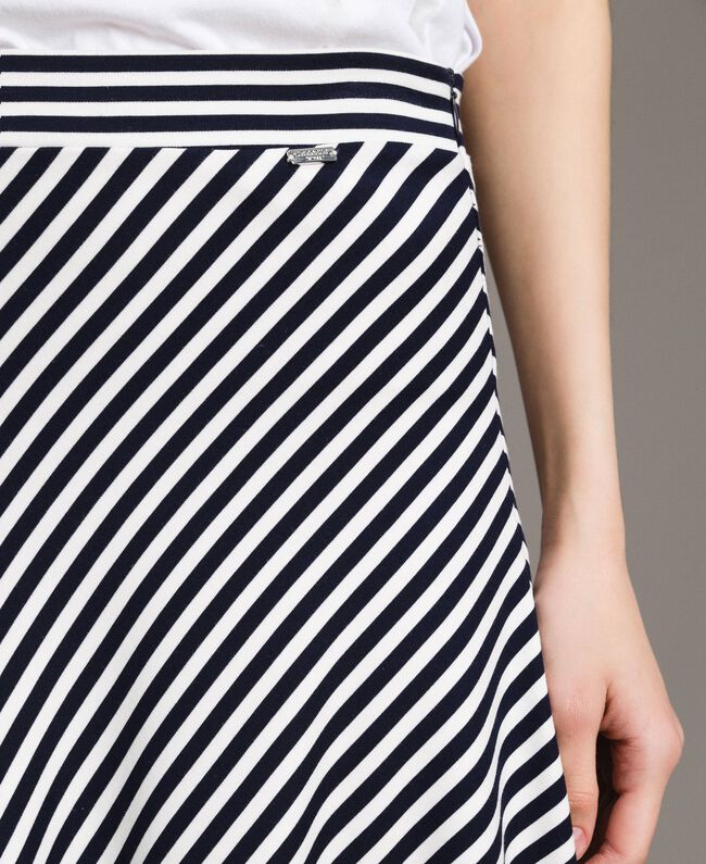 Two-tone striped mid-length skirt Blue Shadow / Off White Striping Woman 191ST2036-04