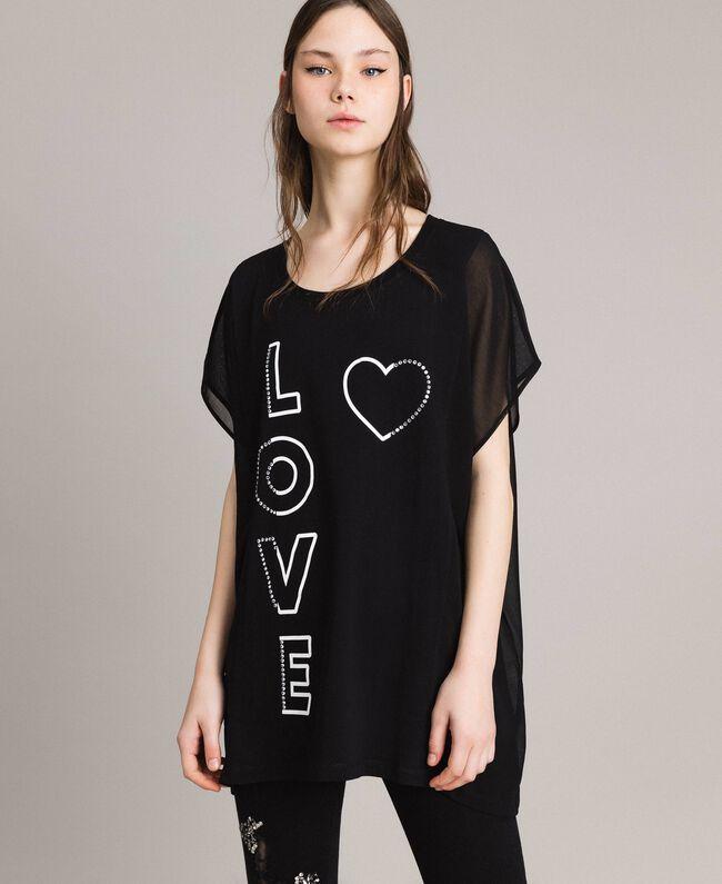 Maxi T-Shirt mit Print und Strass Schwarz Frau 191LB23KK-04