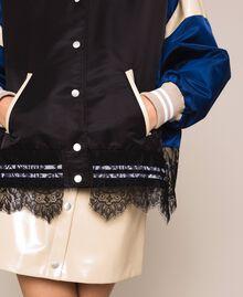 """Бомбер 'колор-блок' с кружевом Двухцветный Черный / Синий """"Ультрамарин"""" женщина 201MP2190-05"""