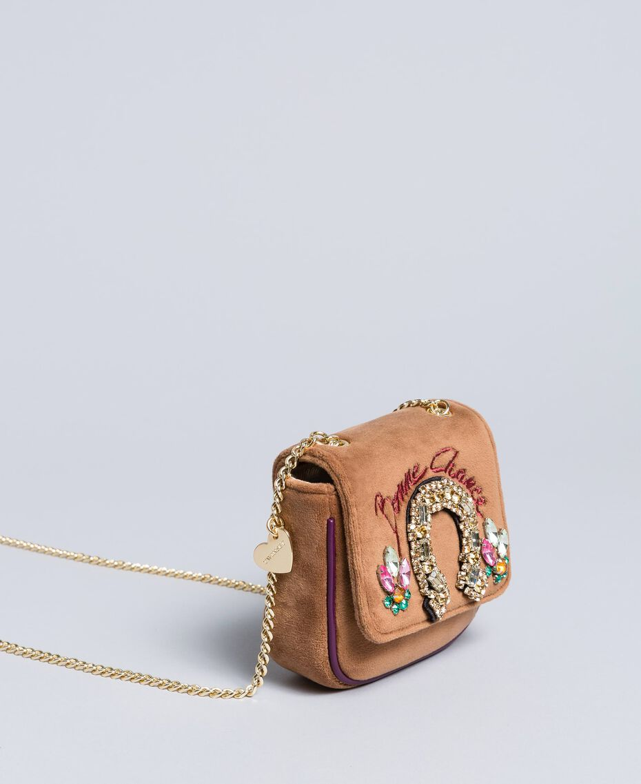 Mini velvet shoulder bag with embroidery and rhinestones Camel Woman AA8PBP-02