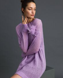 "Short wool and mohair dress with brooch ""Wisteria"" Pink / Purple Woman 192ST3090-01"
