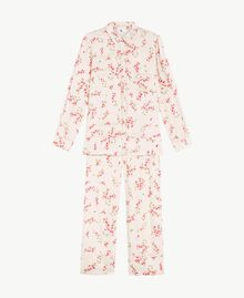 "Satin pyjamas ""Peach Powder"" Pink Microflower Print Woman LS8BFF-01"