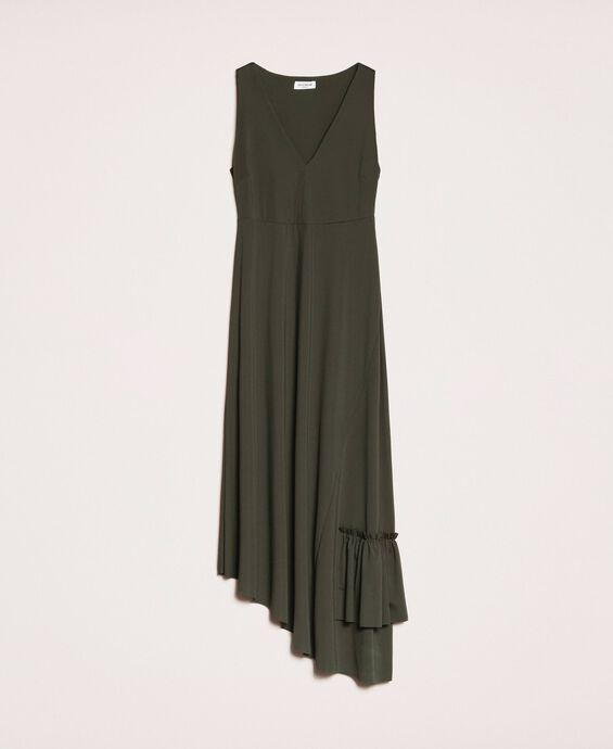 Long asymmetric dress with flounce
