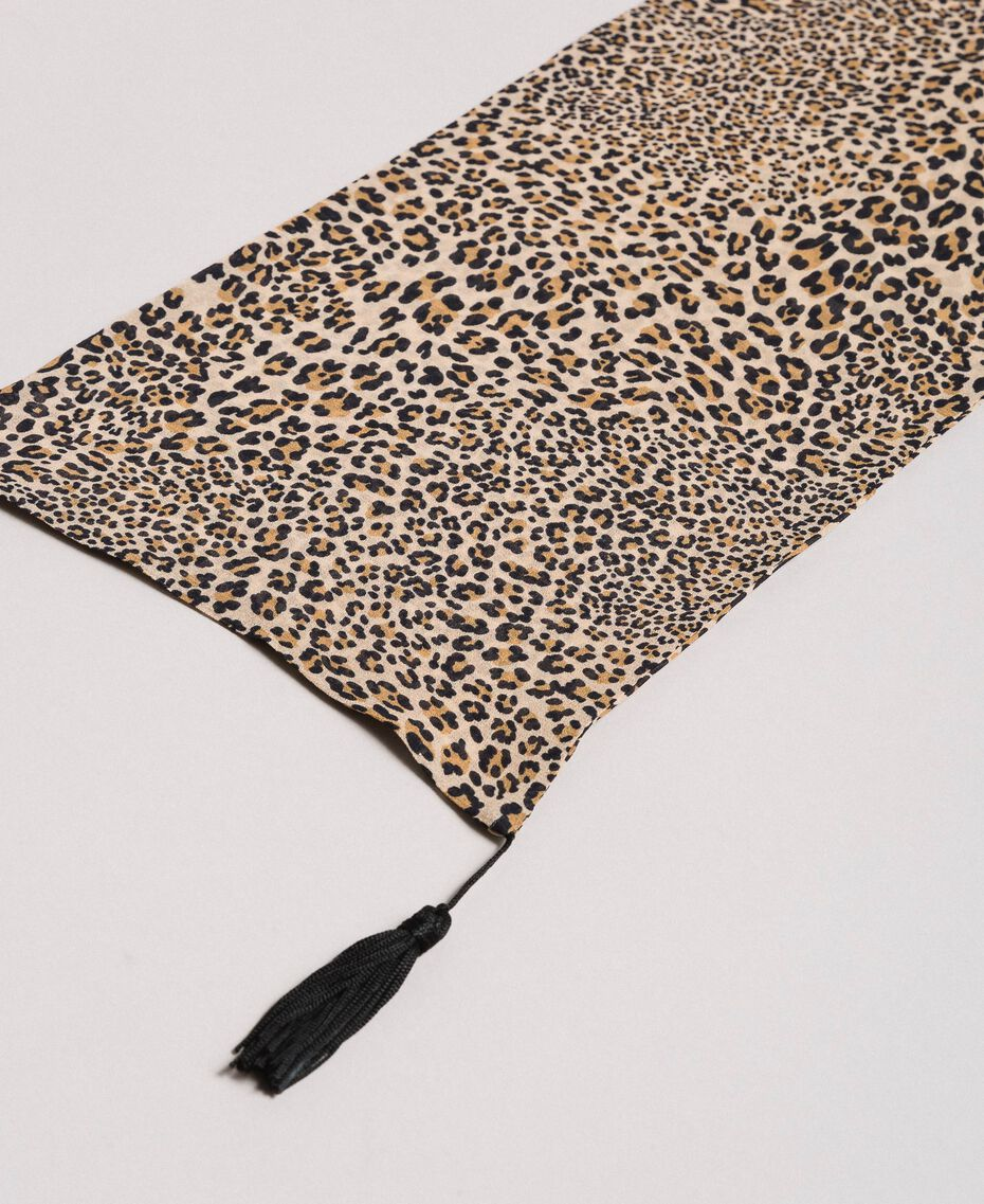 Animal print scarf with tassels Mixed Animal Print Woman 191TP2725-02