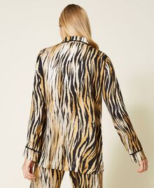 "Satinhemd mit Animalprint Print ""Tiger"" Frau 212LL2ELL-05"