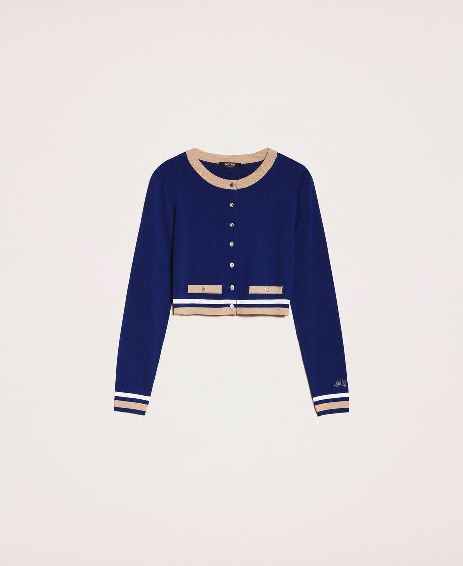 "Contrasting trim cropped cardigan Multicolour ""Ultramarine"" Blue /""Hemp"" Beige / Vanilla Woman 201MP3051-0S"