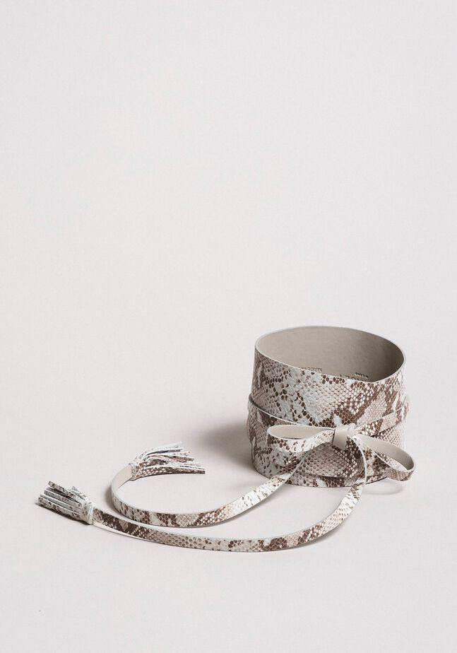 Animal print leather sash