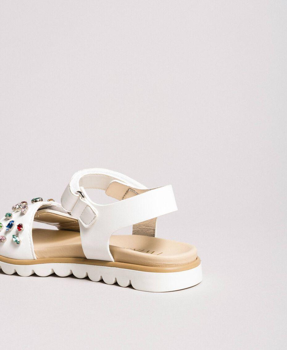 Sandals with multicolour rhinestones White Child 191GCJ150-02