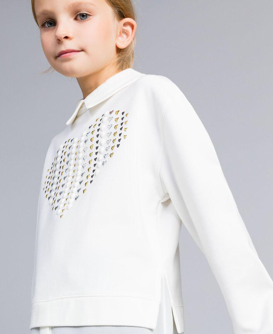 Maxi Milan stitch and georgette sweatshirt Off White Child GA82FU-05