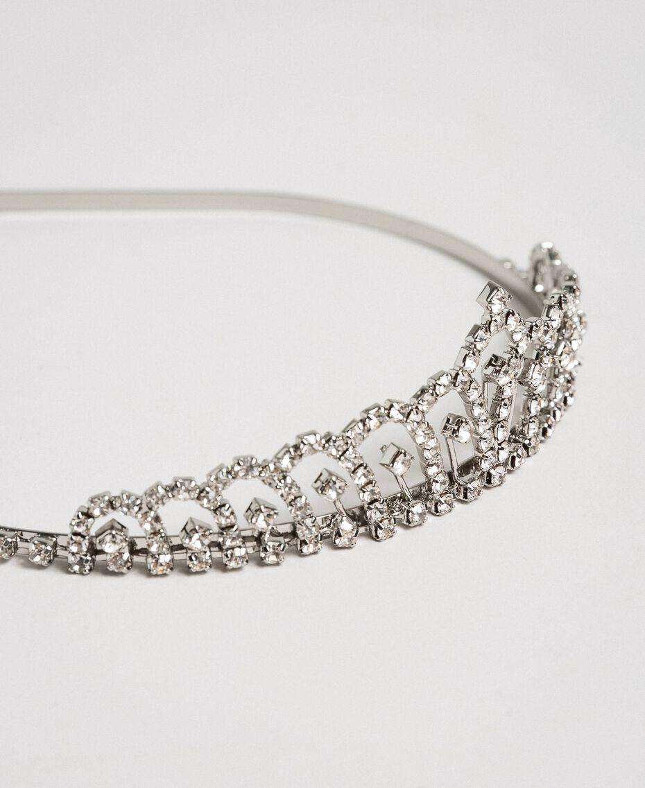 Tiarahaarreif aus Metall mit Steinchen Kristall Frau 192TA437B-02