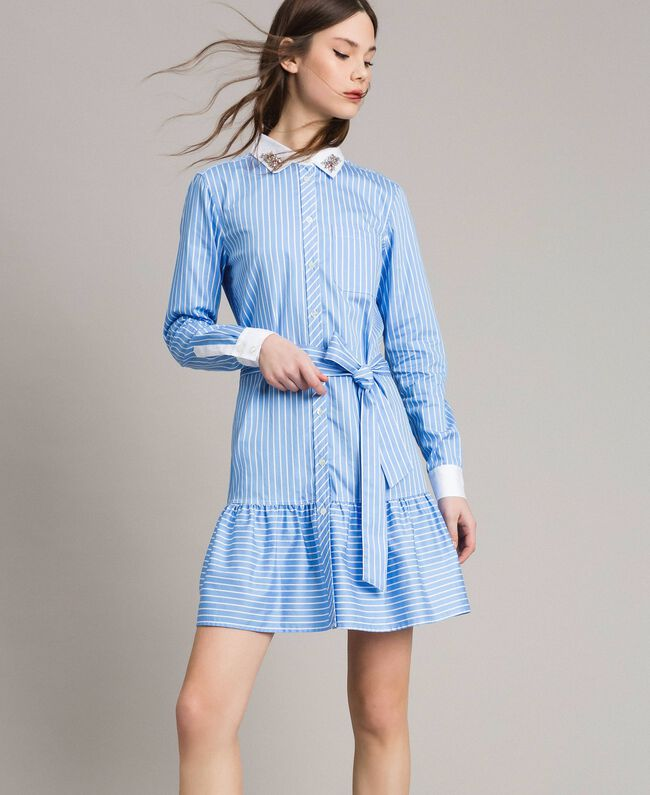Poplin shirt dress with embroidery Cornflower Blue Woman 191MP2043-01