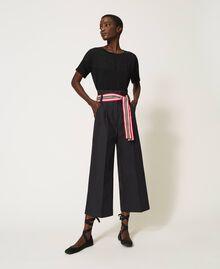Hose mit mehrfarbigem Gürtel Schwarz Frau 202LI2ECC-02