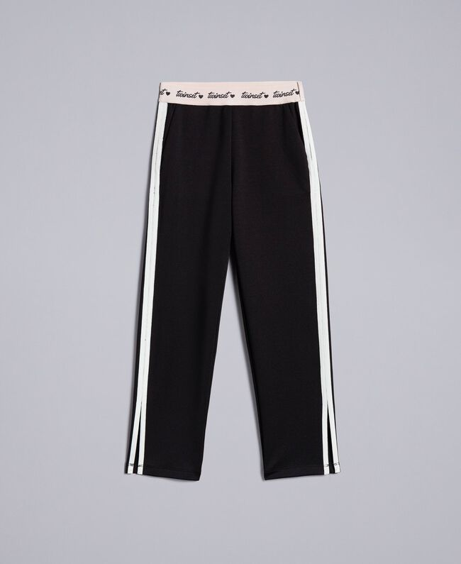 Hose aus technischem Stoff mit Logo Zweifarbig Schwarz / Off White Kind GA82PP-01