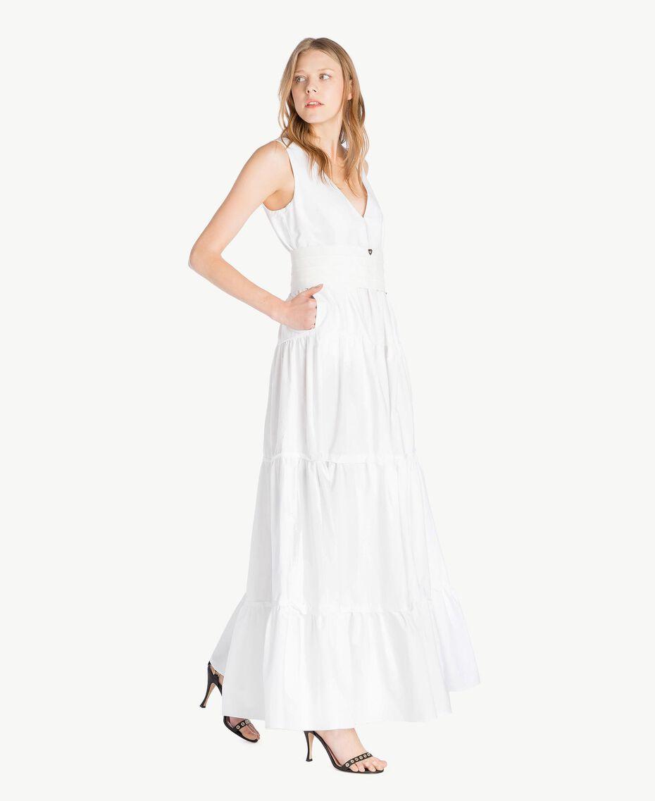 Long poplin dress White Woman TS821Z-02