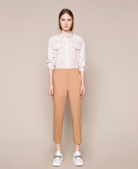 Poplin cigarette trousers