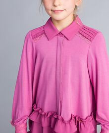 Bluse aus Jersey mit Volants Rosa Bouganville Kind GA82HB-04