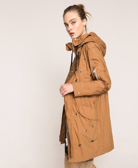 Parka coat with stone and bezel embroidery