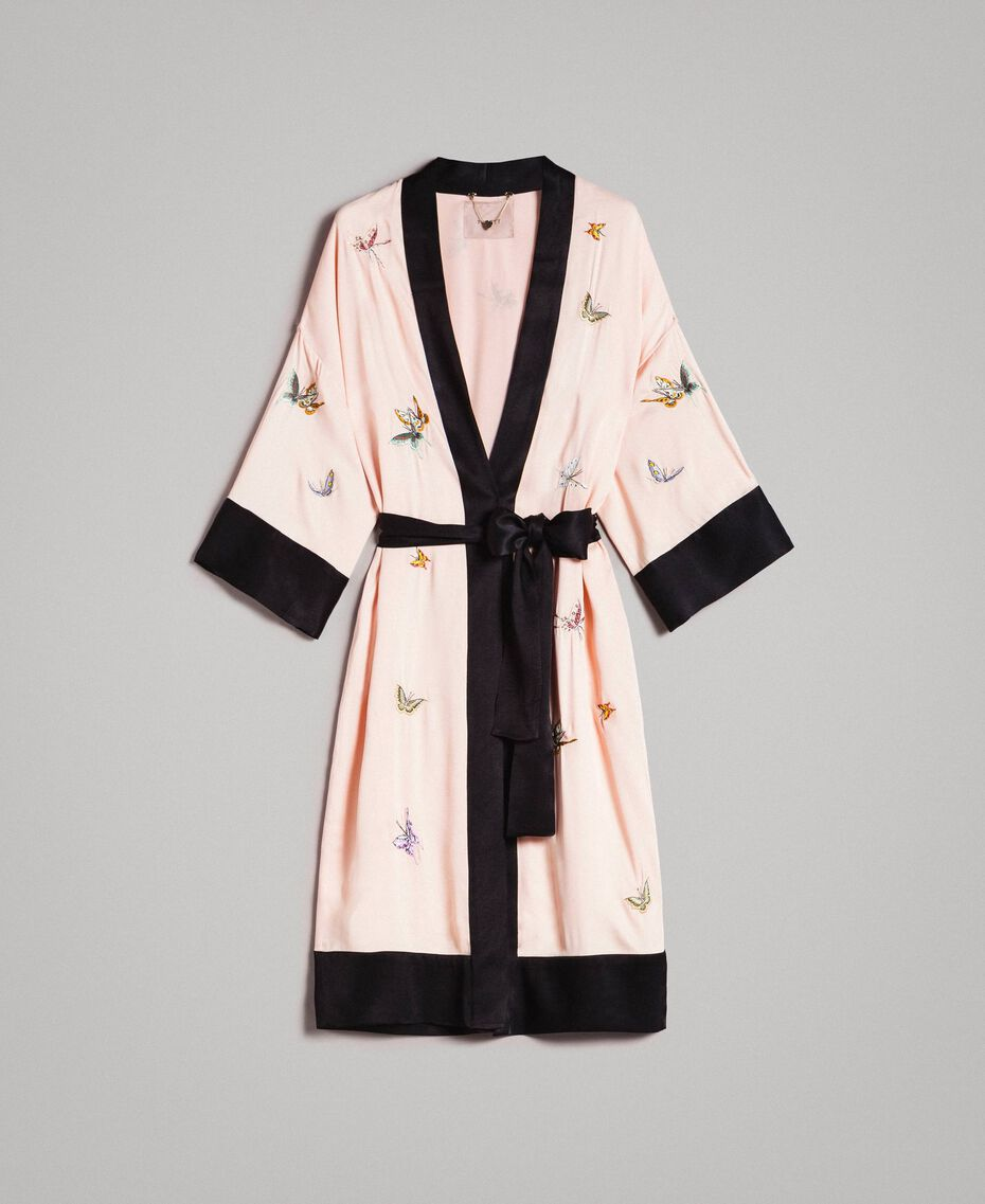 """Satin-Kimono mit Schmetterlings-Stickerei Zweifarbig """"Rose Sand"""" Pink / Schwarz Frau 191TT2110-0S"""