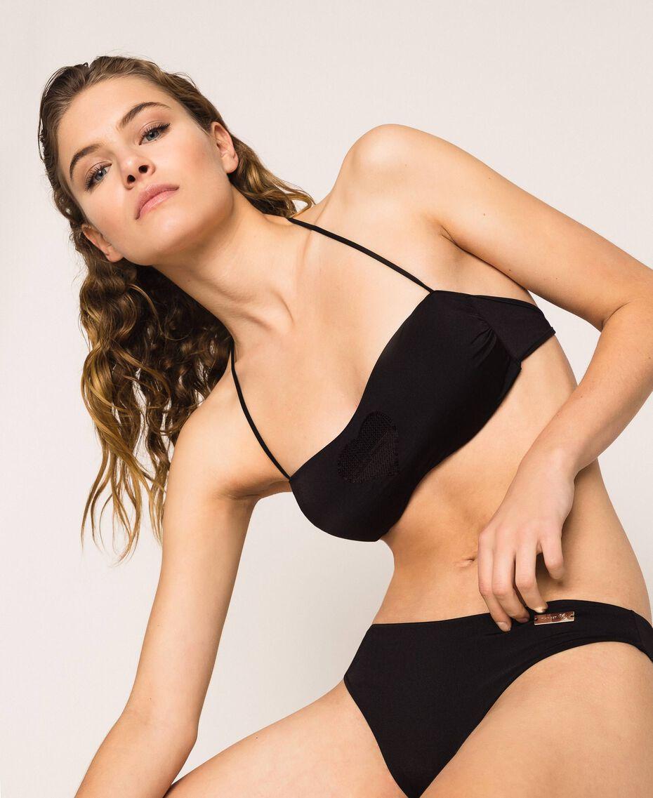 Bandeau bikini top with heart Black Woman 201LBMCWW-01