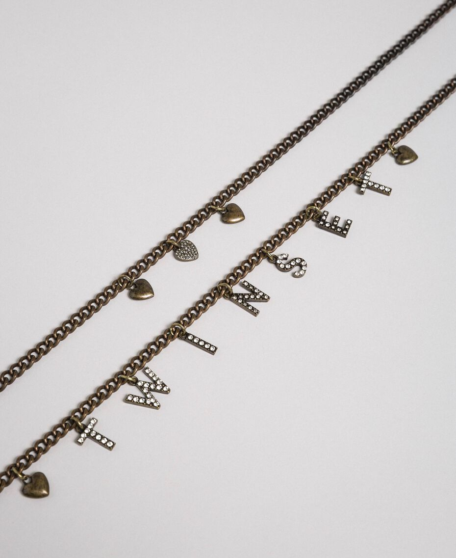 Mehrreihige Gliederkette mit Anhängern Zweifarbig Kristall / Black Diamond Schwarz Frau 192TA4369-02