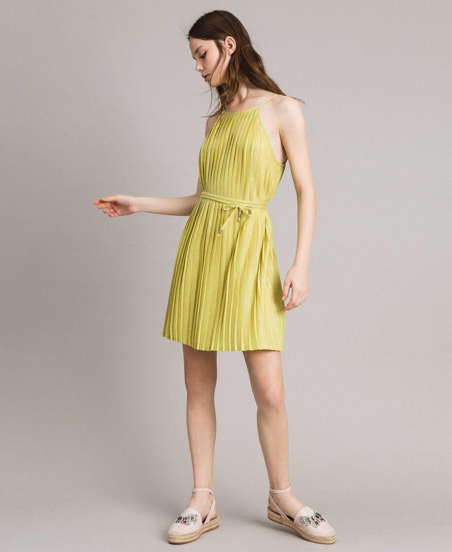"Pleated lurex dress ""Lemon Juice"" Yellow Woman 191LB23FF-02"