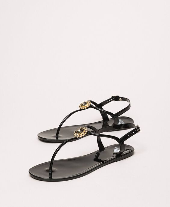 Thong sandals with jewel