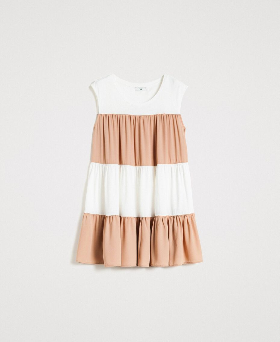 "Jersey and muslin mini dress Two-tone Ivory / ""Petra Sandstone"" Brown Woman 191LM2HHH-0S"