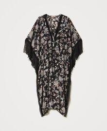 Muslin floral kaftan dress Black Indian Flower Print Woman 211TT2683-0S