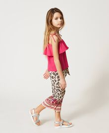 "Poplin flounce top ""Fuchsia Purple"" Pink Child 211GJ2237-03"