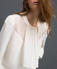 Crêpe de Chine and georgette blouse White Snow Woman 192TT2430-01
