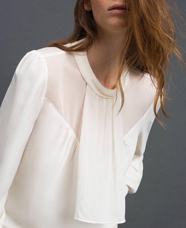 Blouse en crêpe de Chine et georgette Blanc Neige Femme 192TT2430-01