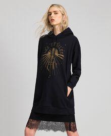 Oversize-Sweatshirt mit Print an der Vorderpartie Blütenknospenrosa Frau 192TT2130-01