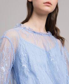 Robe asymétrique en dentelle de Chantilly Bleu Clair Atmosphere Femme 191ST2120-04